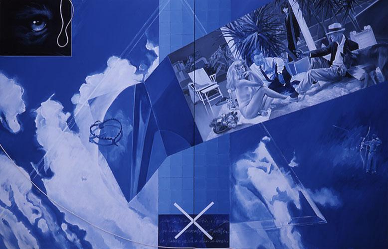 Ang n°2 1999 Huile sur toile, câbles et rideau 250x390 cm